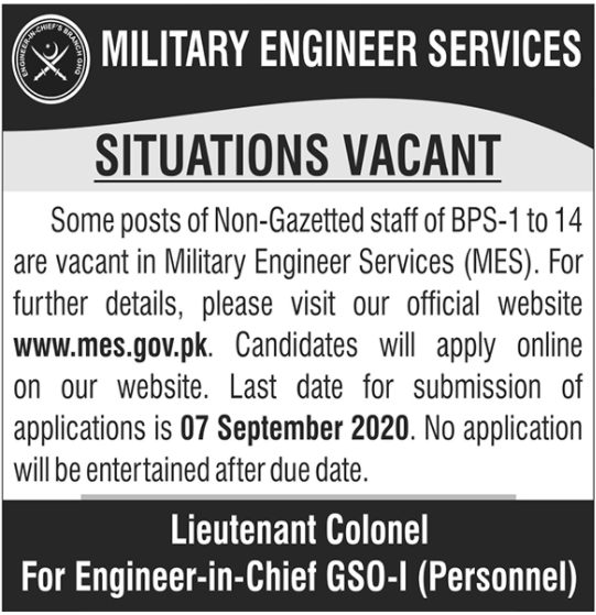 Pakistan Army Military Engineer Services MES Jobs 2020