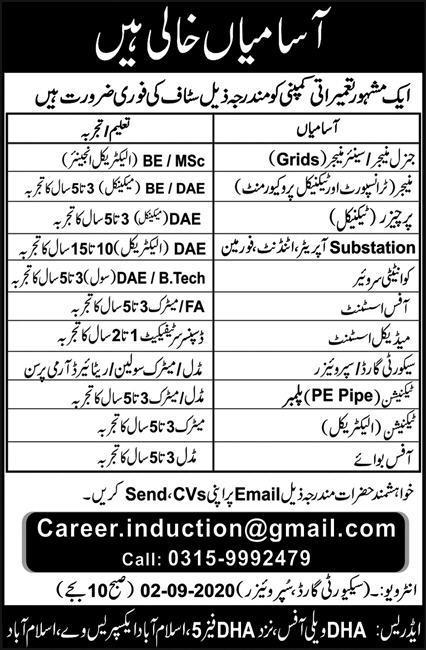 Construction Company Jobs 2020 in Islamabad
