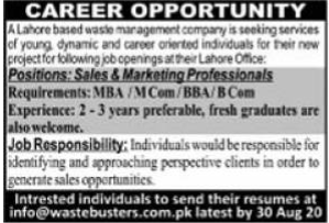 Waster Busters Jobs 2020 in Lahore