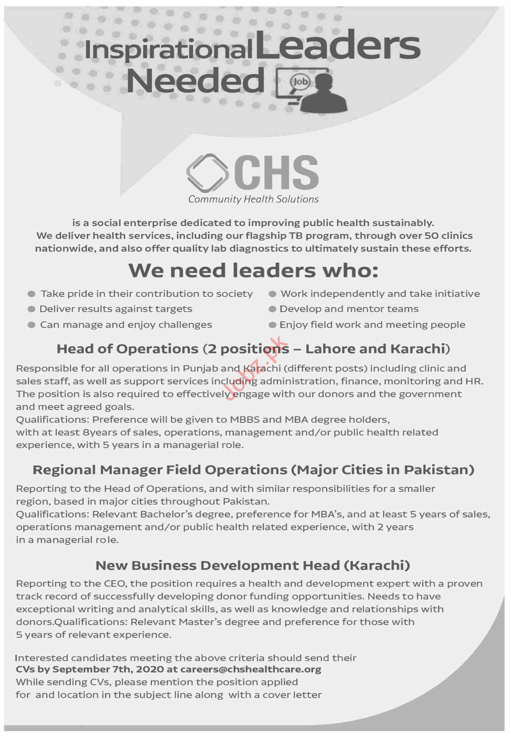Community Health Solutions CHS Jobs 2020 Head of Operations