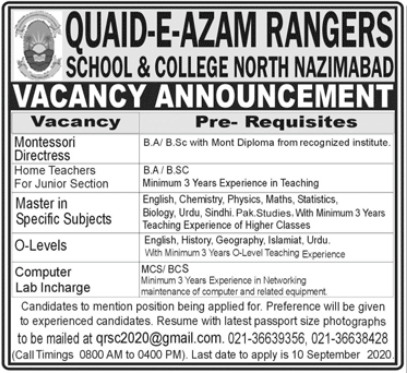 Quaid e Azam Rangers School & College Jobs 2020