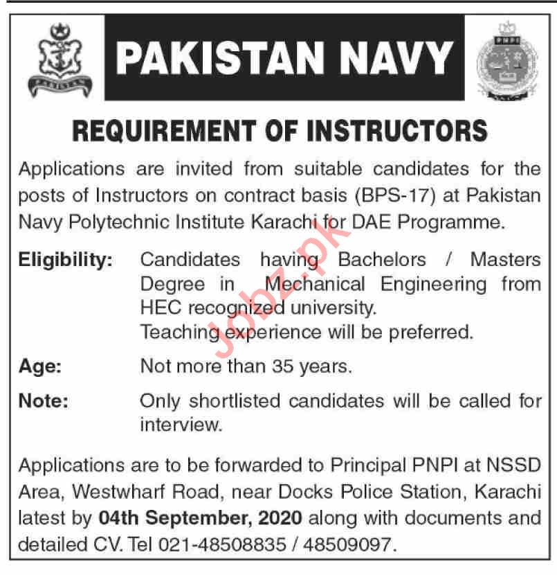 Pakistan Navy Polytechnic Institute PNPI Karachi Jobs 2020