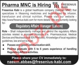 Fresenius Kabi Pakistan Jobs 2020 for Regulatory Manager