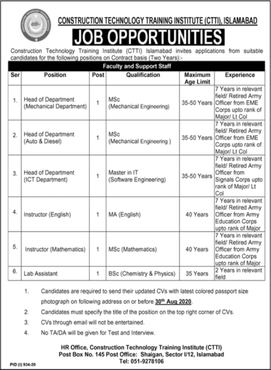 Construction Technology Training Institute CTTI Jobs 2020