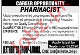 Leathertex Group Lahore Jobs 2020 for Pharmacist