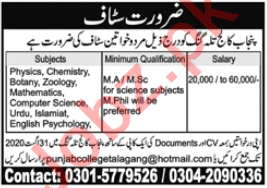 Punjab College Talagang Jobs 2020 for Lecturers