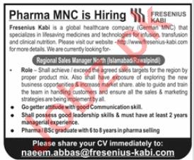 Regional Sales Manager Jobs in Fresenius Kabi Pakistan