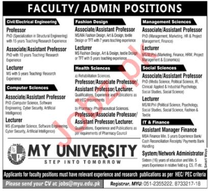 Muslim Youth MY University Islamabad Jobs 2020