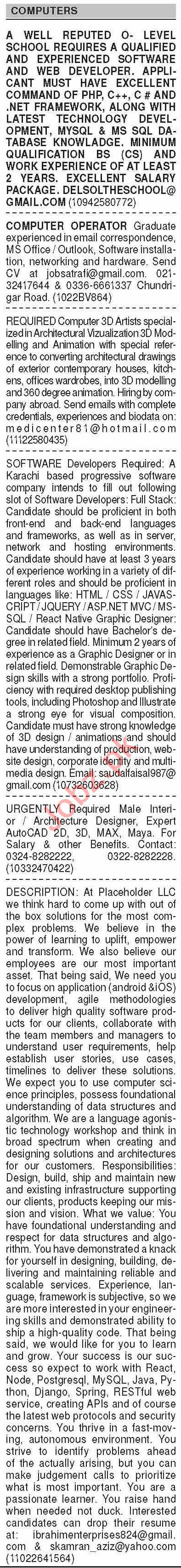 Dawn Sunday Classified Ads 23 Aug 2020 for Computer Staff