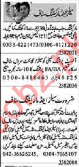 Dunya Sunday Classified Ads 23 Aug 2020 for Sales Staff