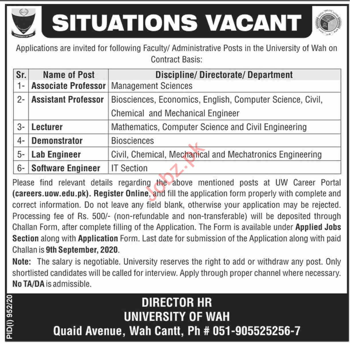 University of Wah Jobs 2020 Professors & Software Engineer