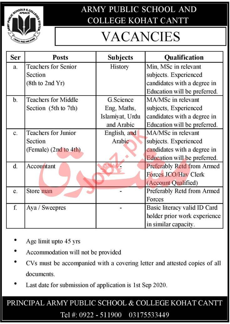 Army Public School & College APS&C Kohat Cantt Jobs 2020