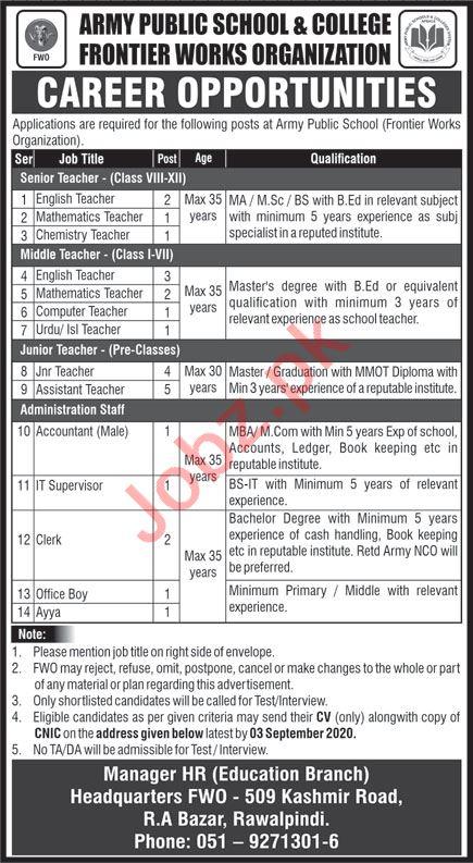 Army Public School & College FWO RA Bazar Rawalpindi Jobs