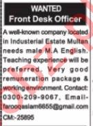 Front Desk Officer & Secretary Jobs 2020 in Multan
