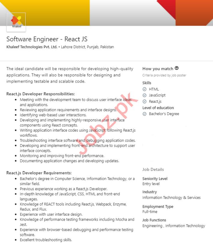 Khaleef Technologies Lahore Jobs 2020 for Software Engineer
