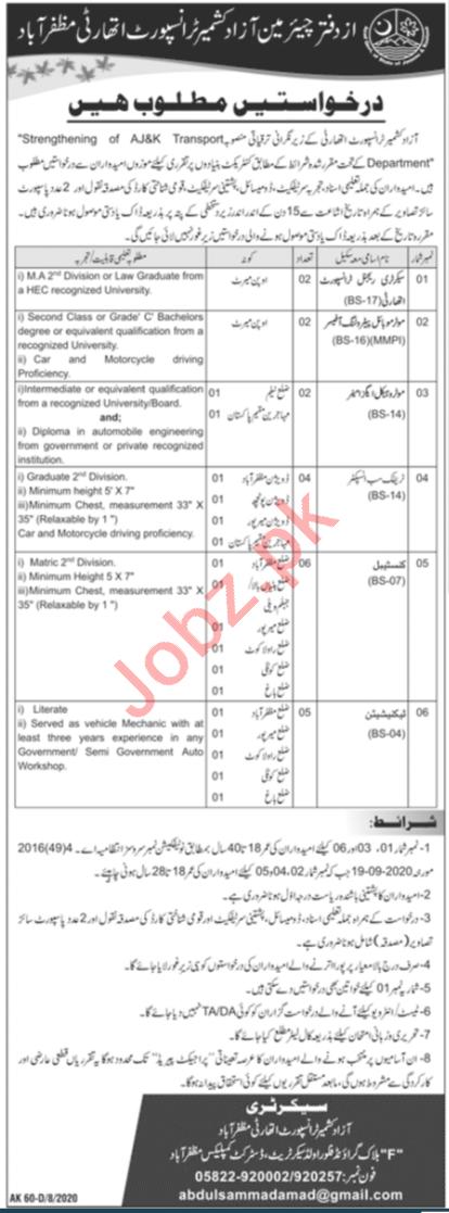 AJK Transport Authority Muzaffarabad Jobs 2020