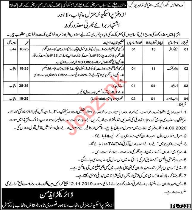 Prosecutor General Punjab Jobs 2020 for Junior Clerk