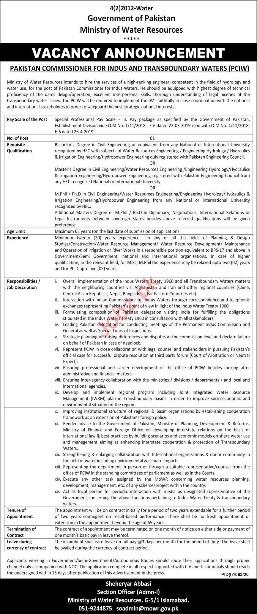 Ministry of Water Resource PCIW Islamabad Jobs 2020