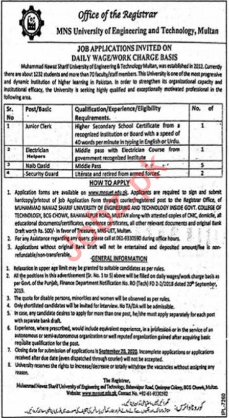 University of Engineering & Technology MNS UET Multan Jobs
