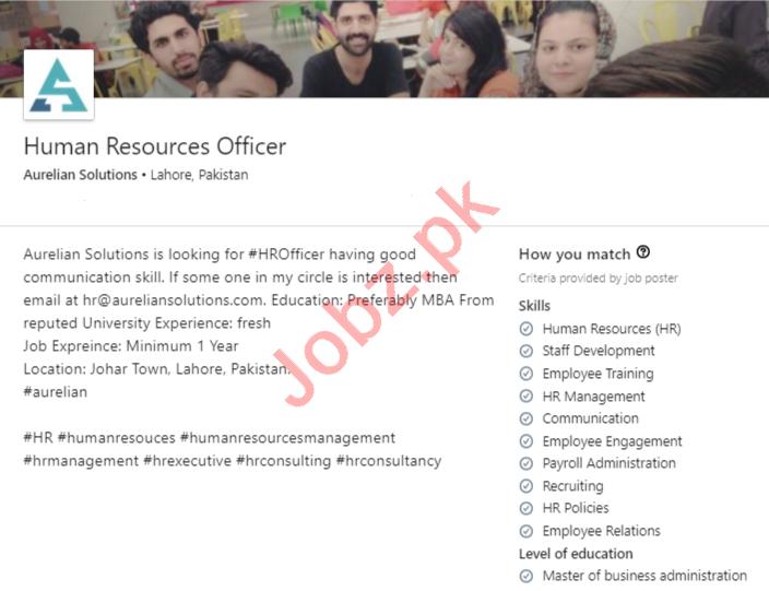 Aurelian Solutions Lahore Jobs 2020 Human Resource Officer