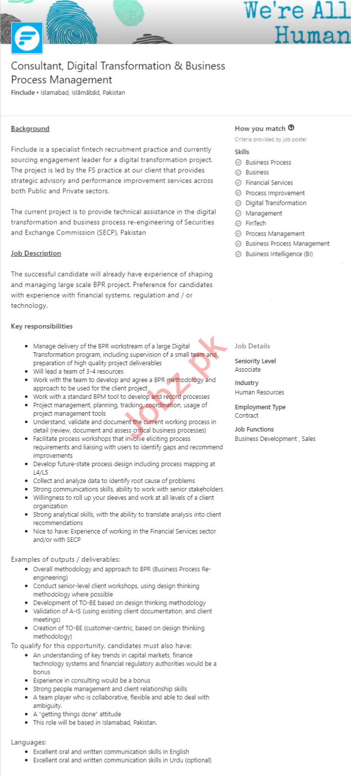 Finclude Technologies Islamabad Jobs 2020 for Consultant