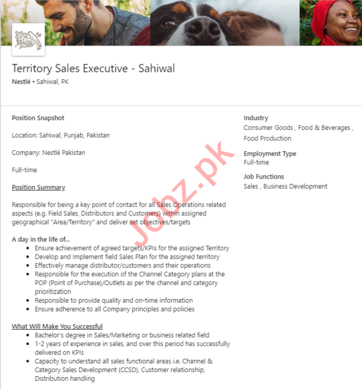 Nestle Sahiwal Jobs 2020 for Territory Sales Executive
