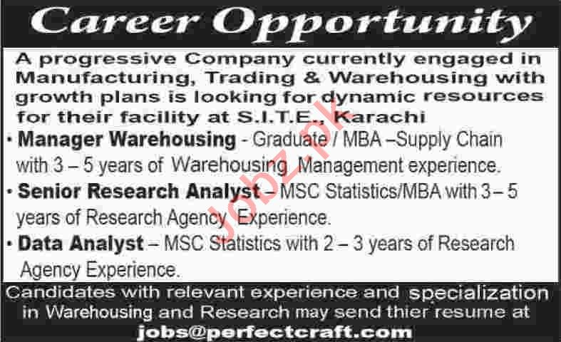 Manager Warehousing & Senior Research Analyst Jobs 2020