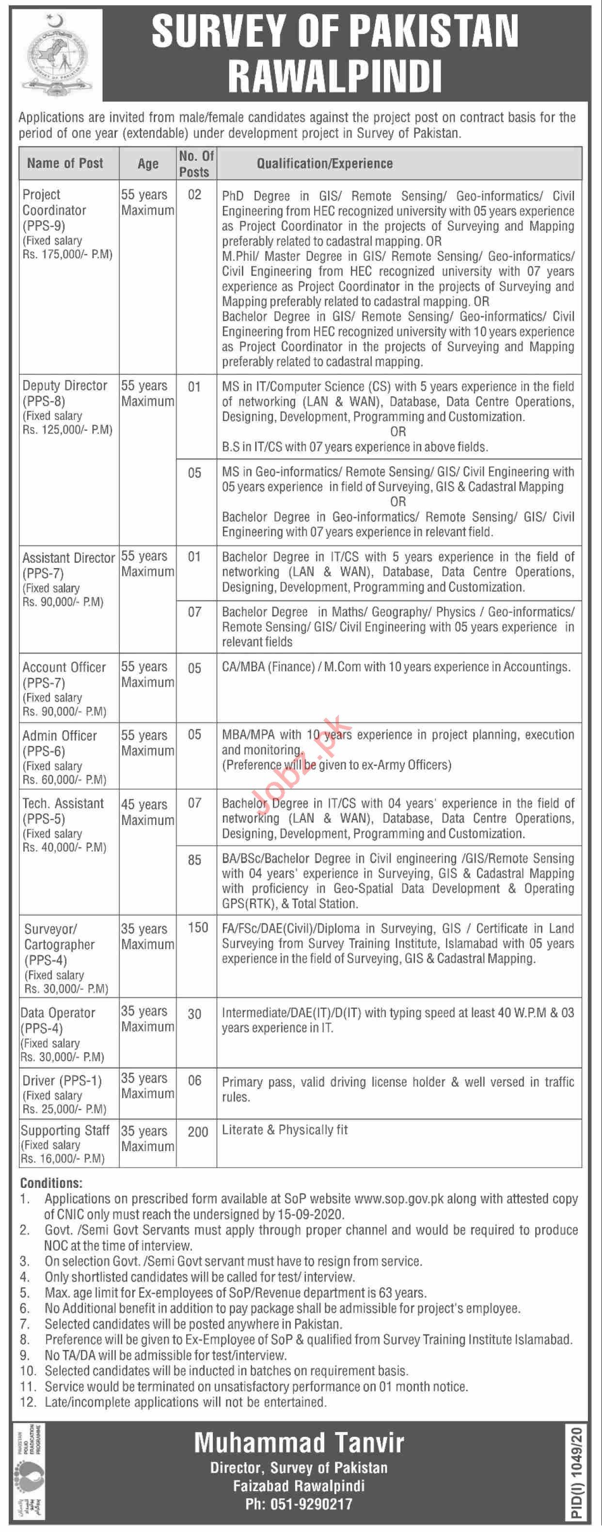 Survey of Pakistan SOP Jobs 2020 for Project Coordinator