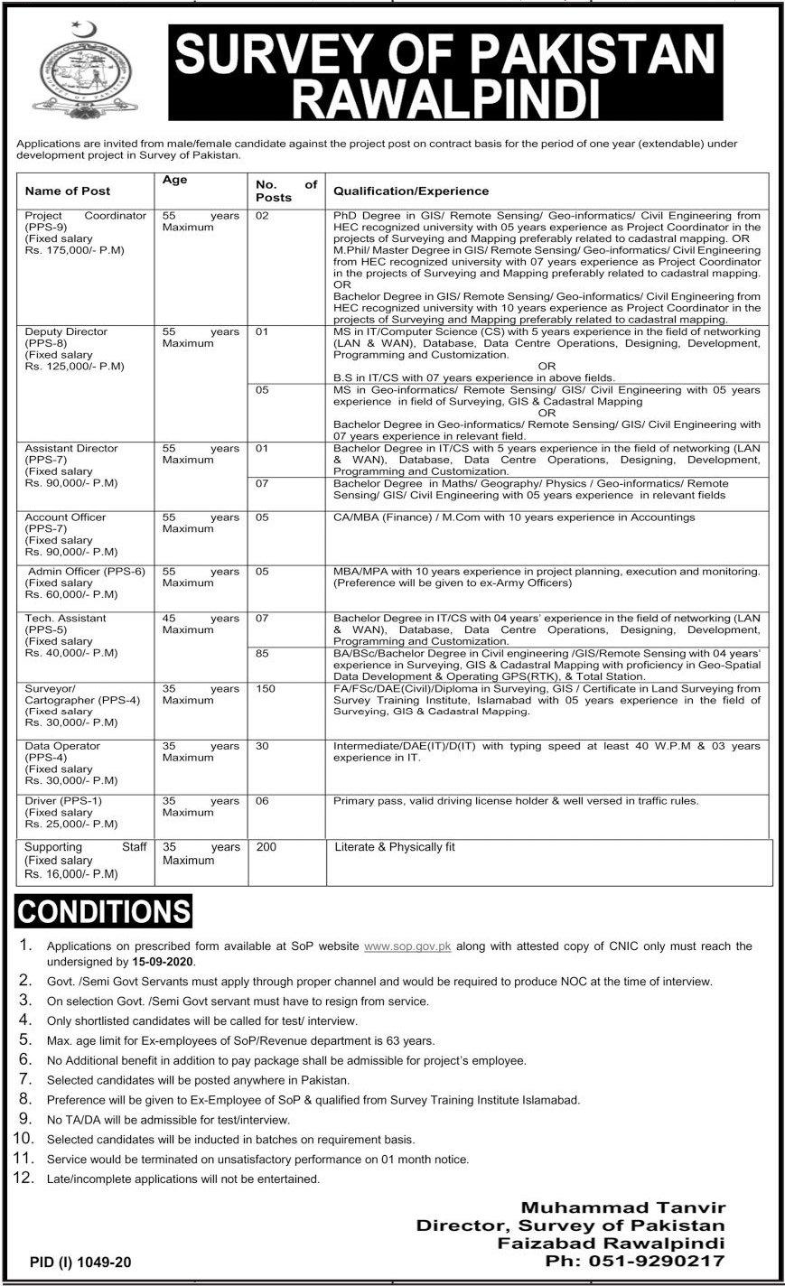 Survey of Pakistan SOP Jobs 2020 in Rawalpindi