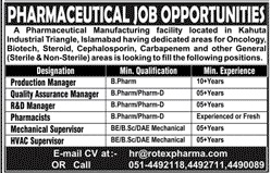 Pharmaceutical Manufacturing Company Jobs 2020