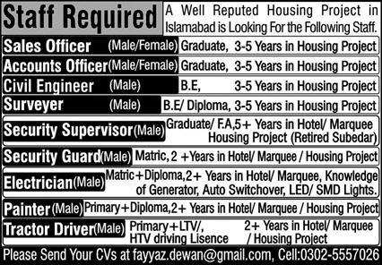 Housing Project Jobs 2020 in Islamabad
