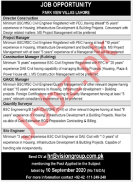 Vision Group Lahore Jobs 2020 for Director Construction