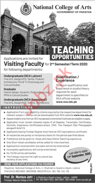 National College of Arts NCA Visiting Jobs 2020