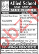 Allied School Cantt Campus Rawalpindi Jobs 2020