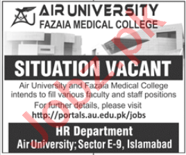 Fazaia Medical College Islamabad Jobs 2020 for Professors