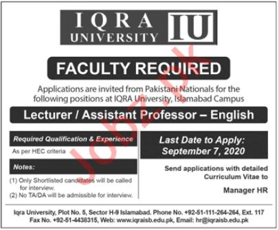 Iqra University IQ Islamabad Jobs 2020 for Asst Professors