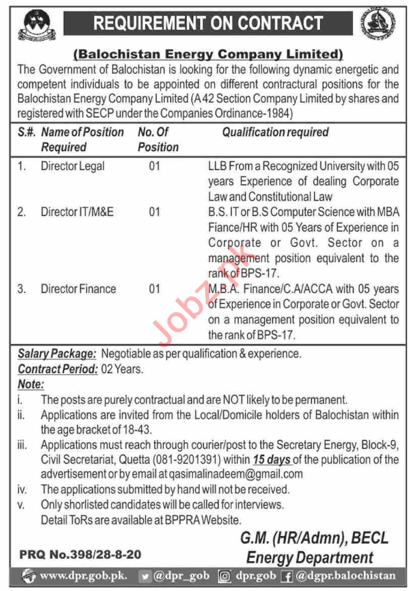Balochistan Energy Company Limited BECL Quetta Jobs 2020