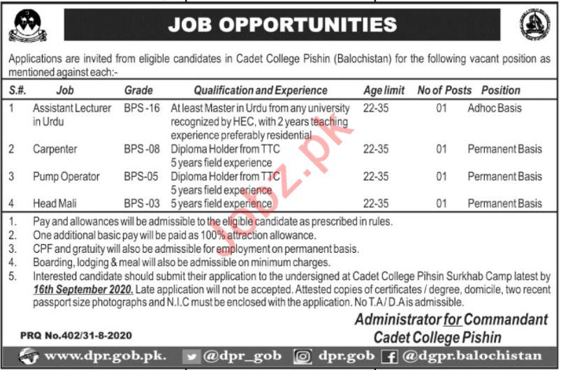 Cadet College Pishin Jobs 2020 for Lecturers & Carpenter