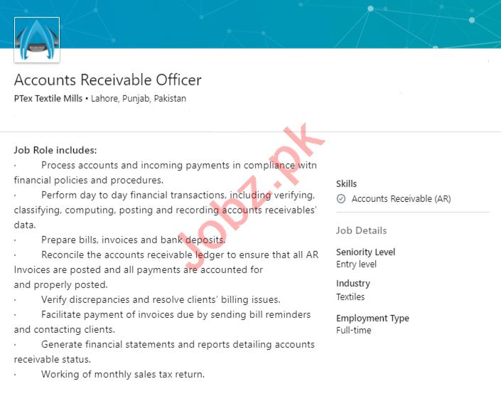 PTex Textile Mills Lahore Jobs Accounts Receivable Officer