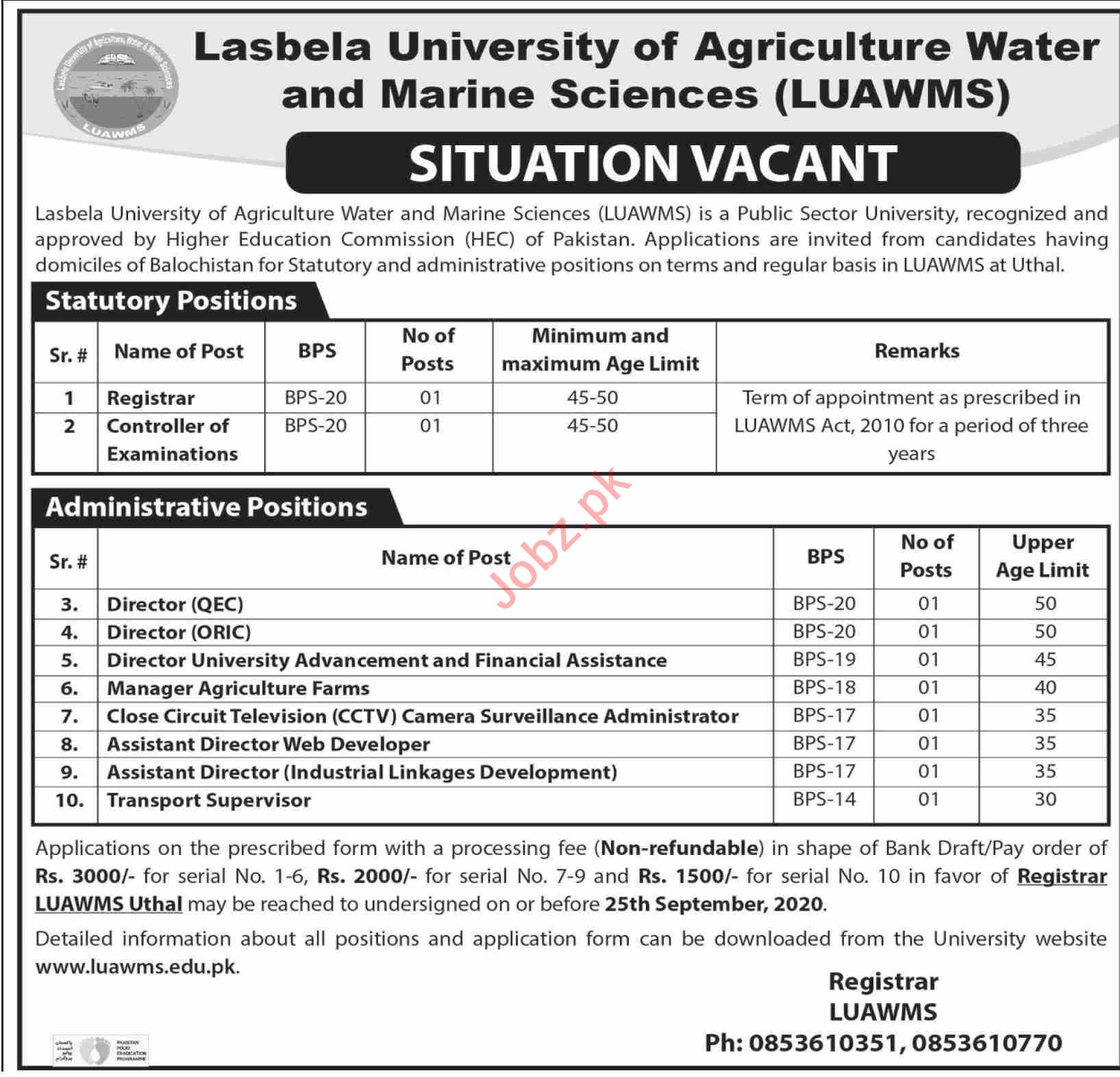 LUAWMS University Jobs 2020 for Directors & Manager