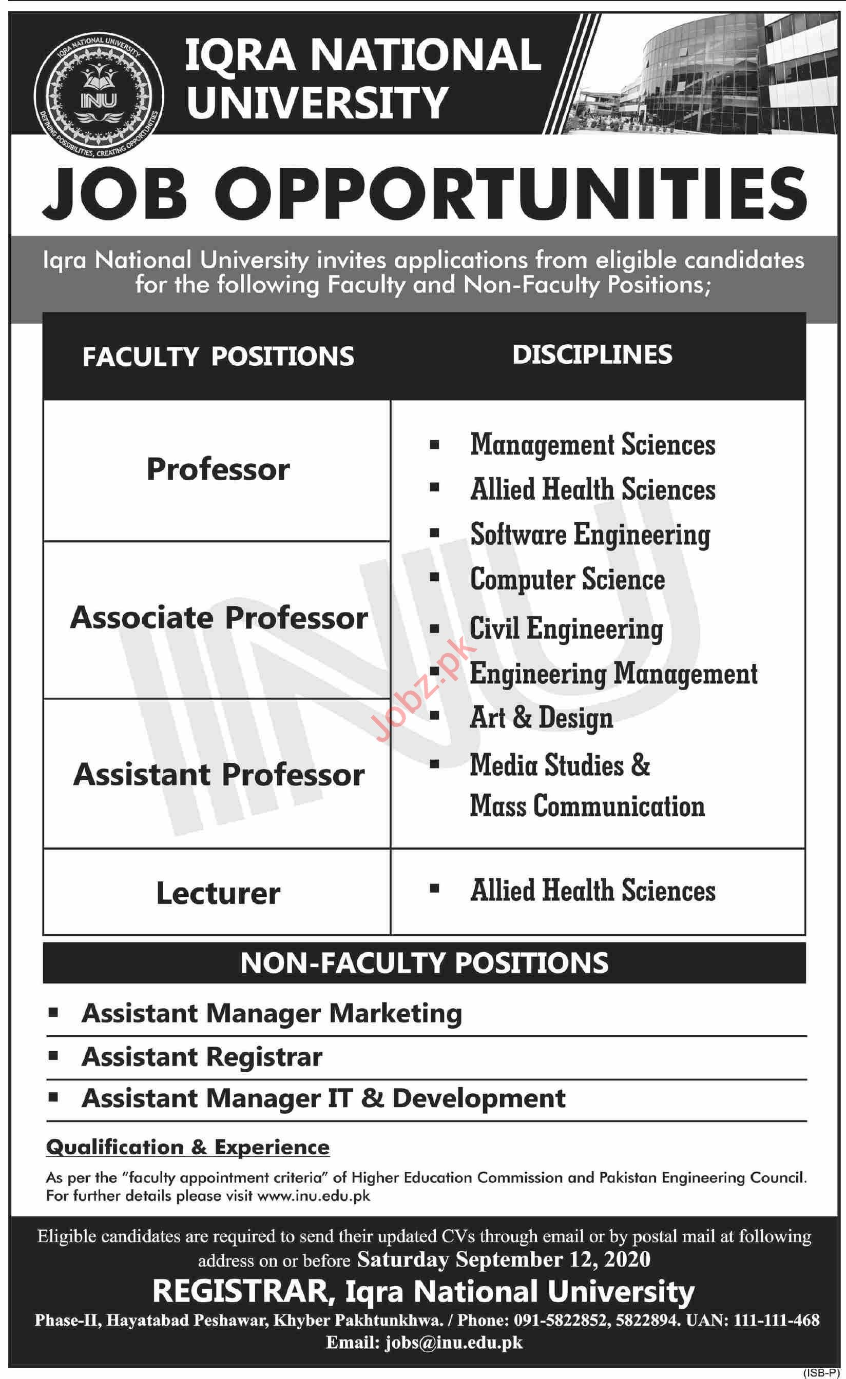 Iqra National University INU Peshawar Jobs for Professors
