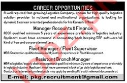 Manager Accounts & Fleet Manager Jobs 2020 in Karachi