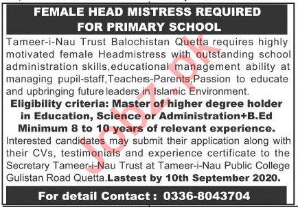 Tameer i Nau Trust Balochistan Quetta Jobs 2020