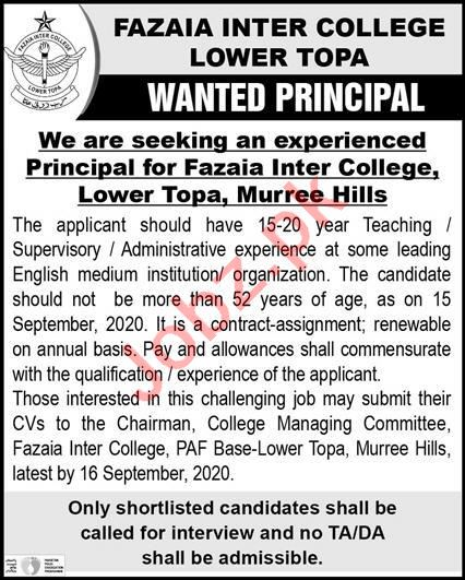 Fazaia Inter College Lower Topa Jobs 2020 for Principal