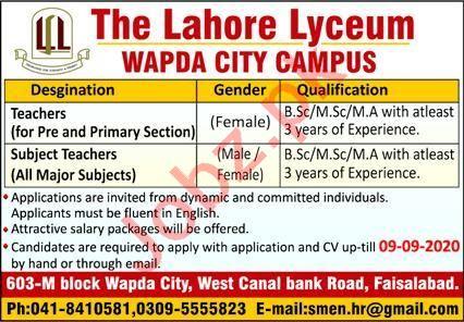 The Lahore Lyceum Wapda City Campus Faisalabad Jobs 2020