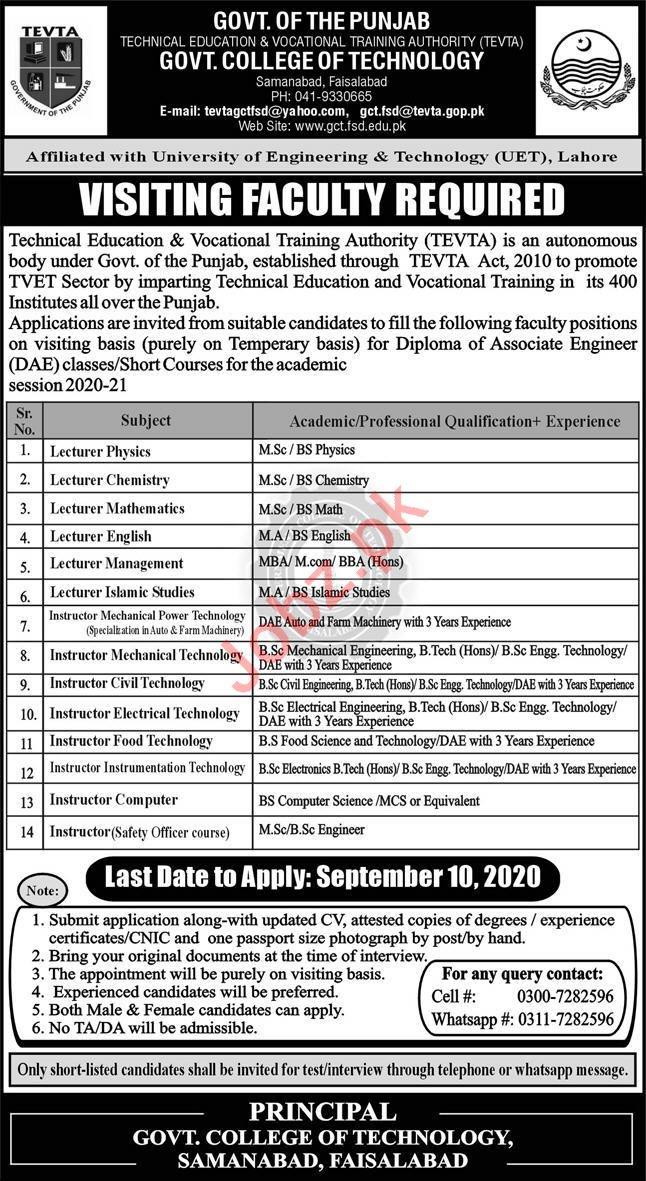 Govt College of Technology Samanabad Faisalabad Jobs 2020