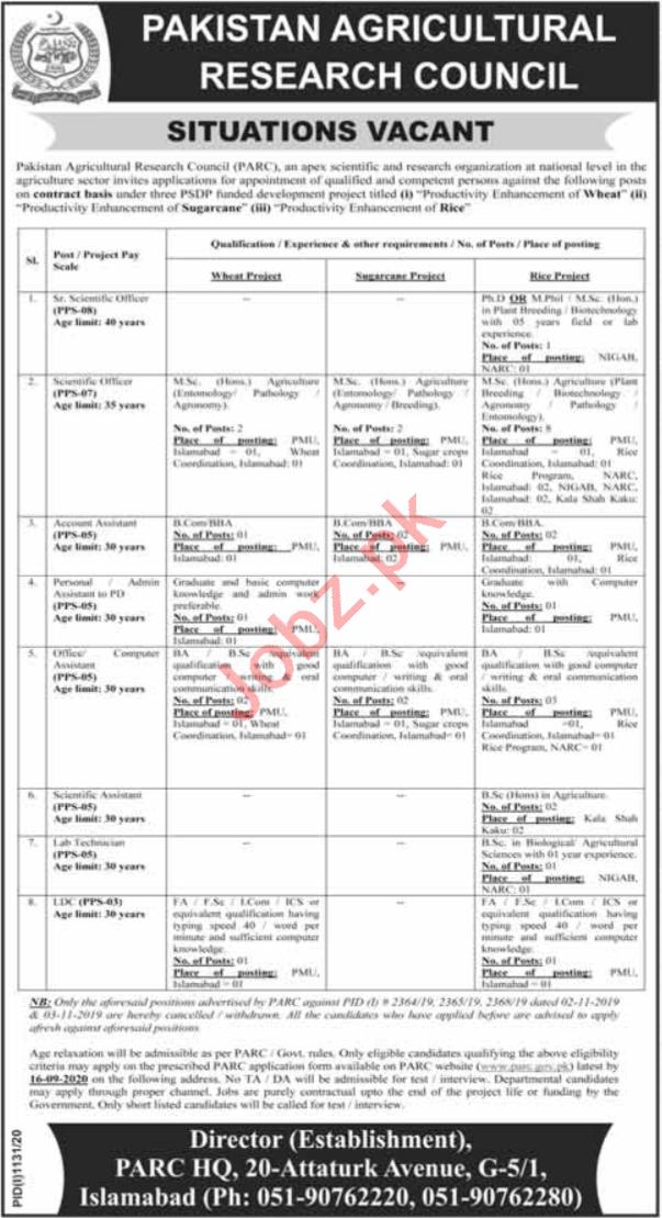 Pakistan Agricultural Research Council PARC Jobs 2020