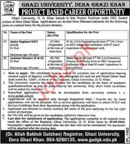 Ghazi University Dera Ghazi Khan Jobs 2020 for Engineers