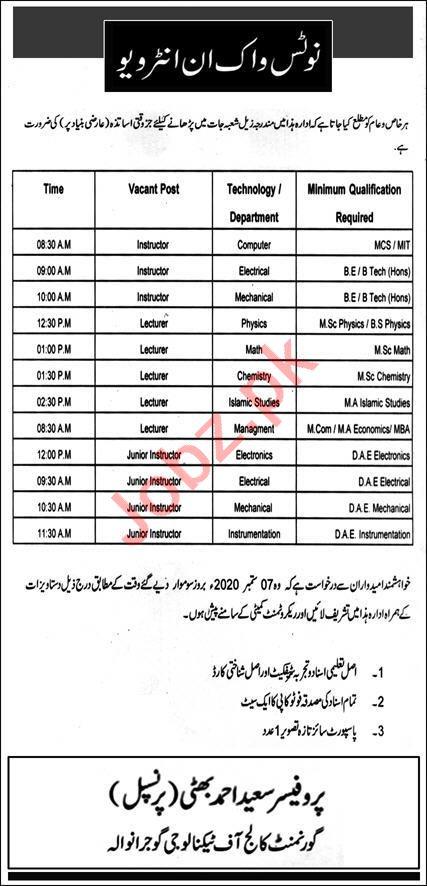 TEVTA Govt College of Technology GCT Gujranwala Jobs 2020