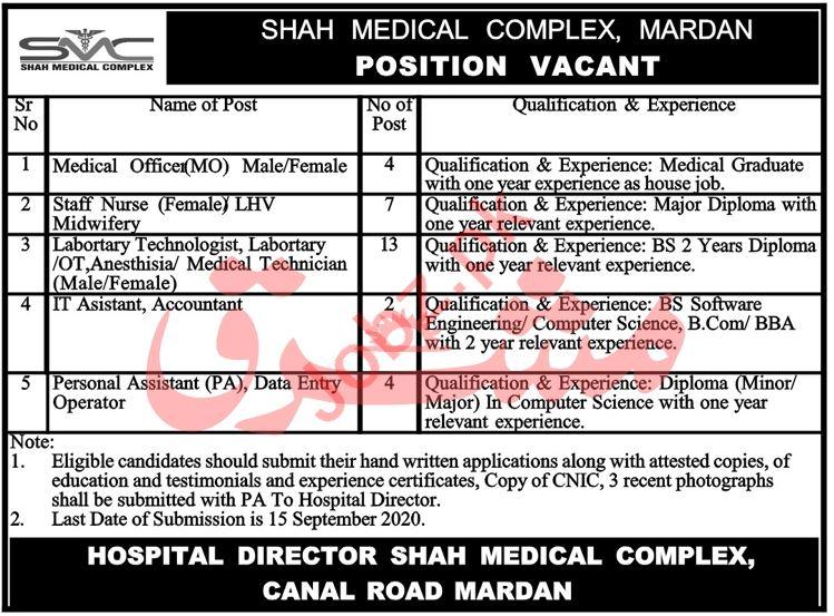 Shah Medical Complex Mardan Jobs 2020 for Medical Officer